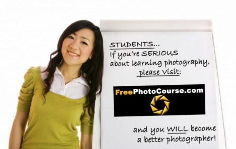 Advertisement for FreePhotoCourse.com's free online digital photography lessons, photo tips, DSLR camera course and more.  © 2010, www.FreePhotoCourse.com