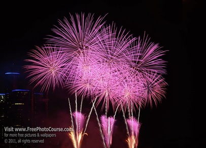 Picture of fireworks display.  Supports how-to article by Stephen Kristof regarding how to photograph fireworks with professional results. © 2011, Stephen Kristof for FreePhotoCourse.com